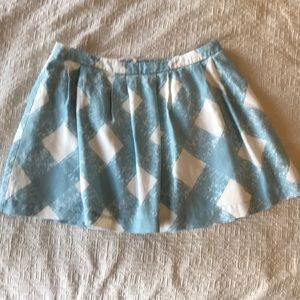 Boden blue and white linen mini skirt sz 12R
